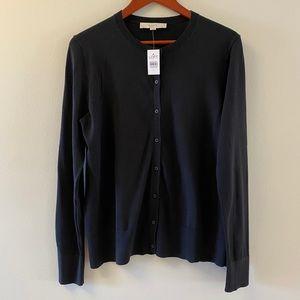 Loft Black Long Sleeve Button Front Cardigan Sz Lg